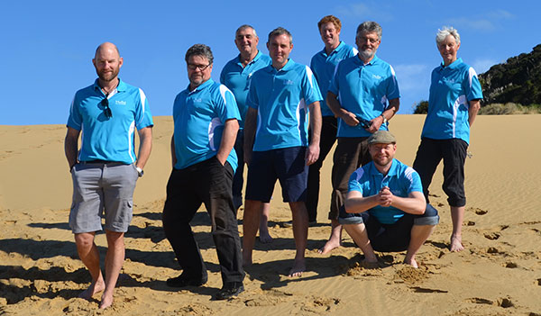 The MoaTours Guide Team on the Sand Dunes at the Hokianga Harbour