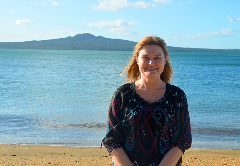 Caroline from MoaTours in front of Rangitoto Island