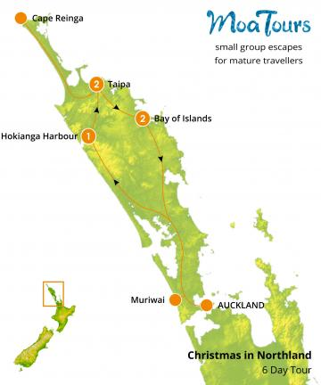 Christmas in Northland Tour Map - MoaTours