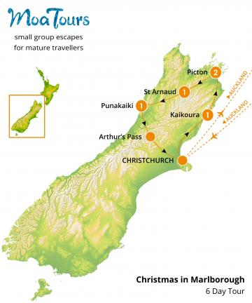 Christmas in Marlborough Tour Map - MoaTours