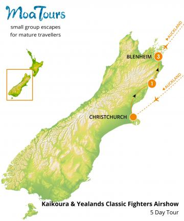Kaikoura & Yealands Classic Fighters Airshow Tour Map - MoaTours