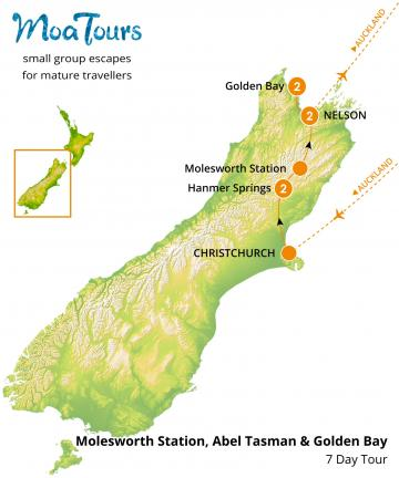 Molesworth Station and Golden Bay Tour Map - MoaTours