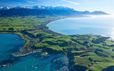 Views from above of the Kaikoura Peninsula and ranges