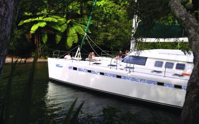 Sailing on Lake Rotoiti on the luxury Pure Cruise Catamaran Tiua