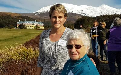 MoaTours guests with views of the Chateau Tongariro and Mt Ruapehu