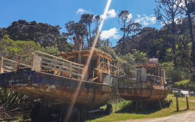 Rusty boats on Great Barrier Island