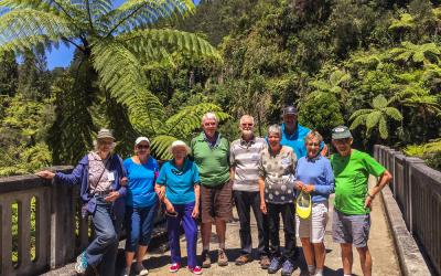 MoaTours Guide & Guests at the Bridge to Nowhere on the Whanganui River