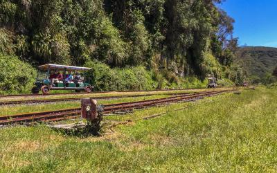 Riding the Forgotten World Railcarts