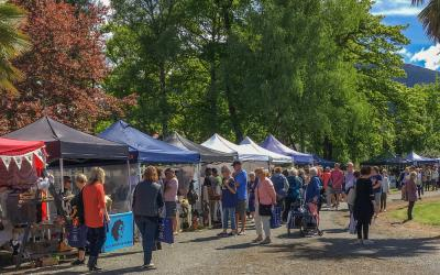 Visitors strolling the stalls at the Hanmer Fete