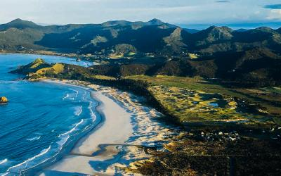 Aerial views of Kaitoke & Medlands Beach on Great Barrier Island