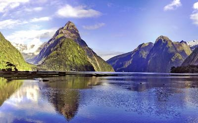 Reflections of Mitre Peak at Milford Sound