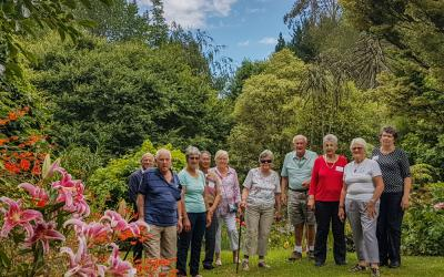 Group walking in Aramatai Gardens near Taumarunui