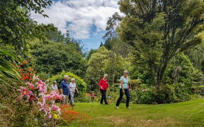 Group walking in Aramatai Gardens, King Country