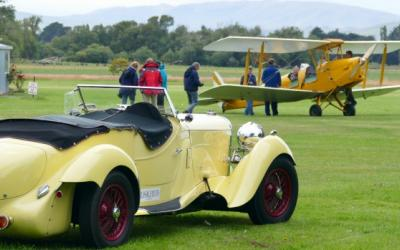 Bentley and Biplane at Croydon Heritage Aviation Park - Wanaka Warbirds with MoaTours