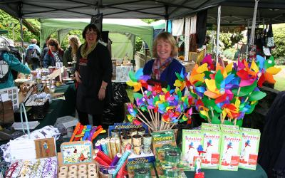 Stalls and friendly attendants at the Cross Hills Gardens Country Fair
