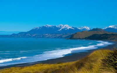 Views of the Kaikoura Ranges in Snow and the Pacific Ocean