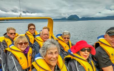 Group enjoying jetboat ride on the Waiau River