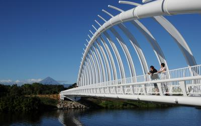 Walking on the Te Rewa Rewa Bridge New Plymouth
