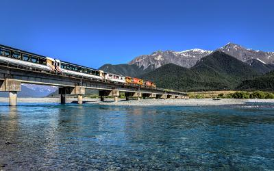 TranzAlpine Train crossing the Waimakariri River bridge