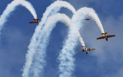 Formation flying at the Yealands  Classic Fighters Airshow in Omaka