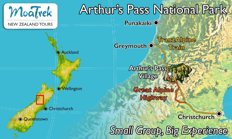 New Zealand Highway Map.Arthur S Pass National Park Moatours New Zealand