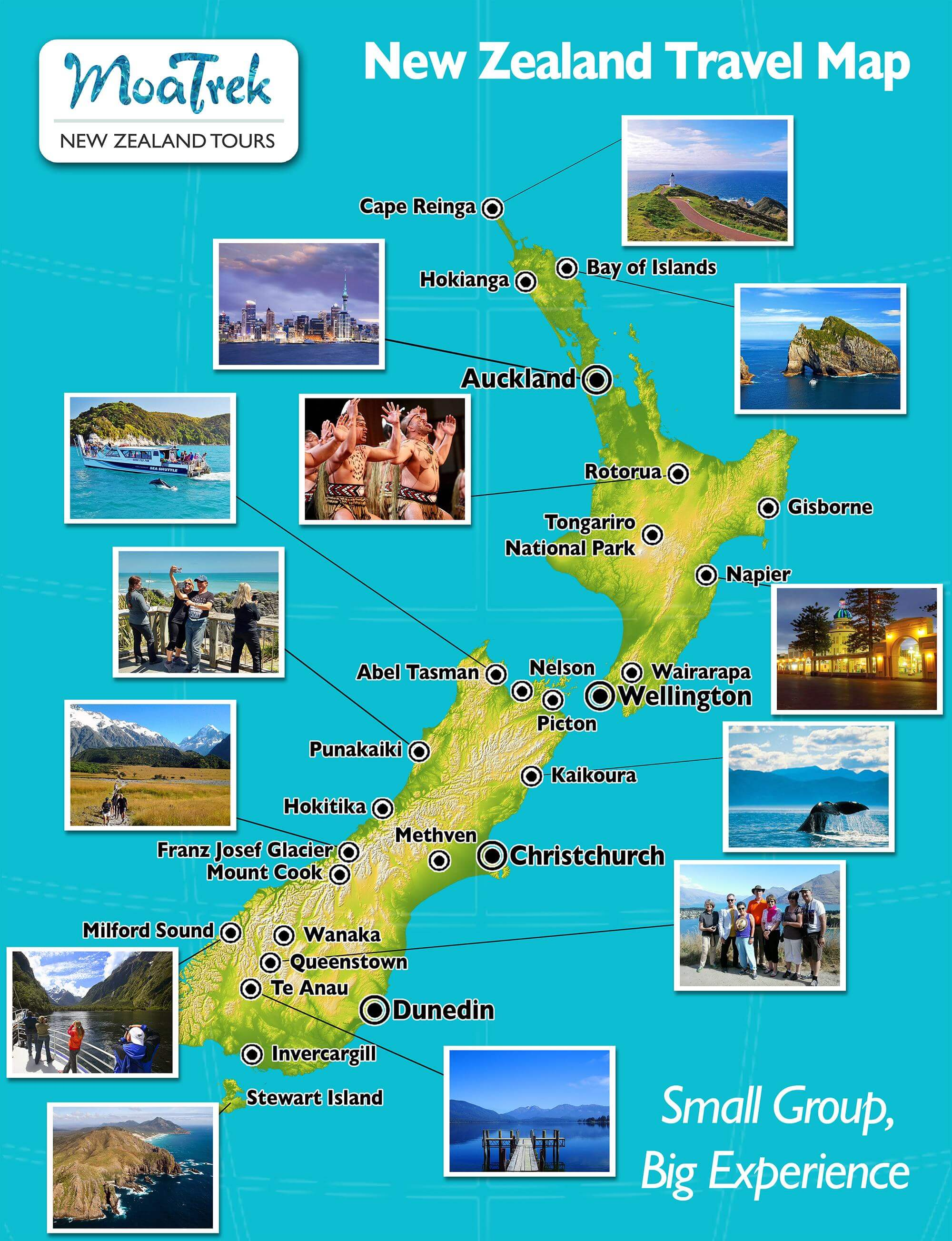 Travel Map New Zealand.New Zealand Travel Map Moatours New Zealand