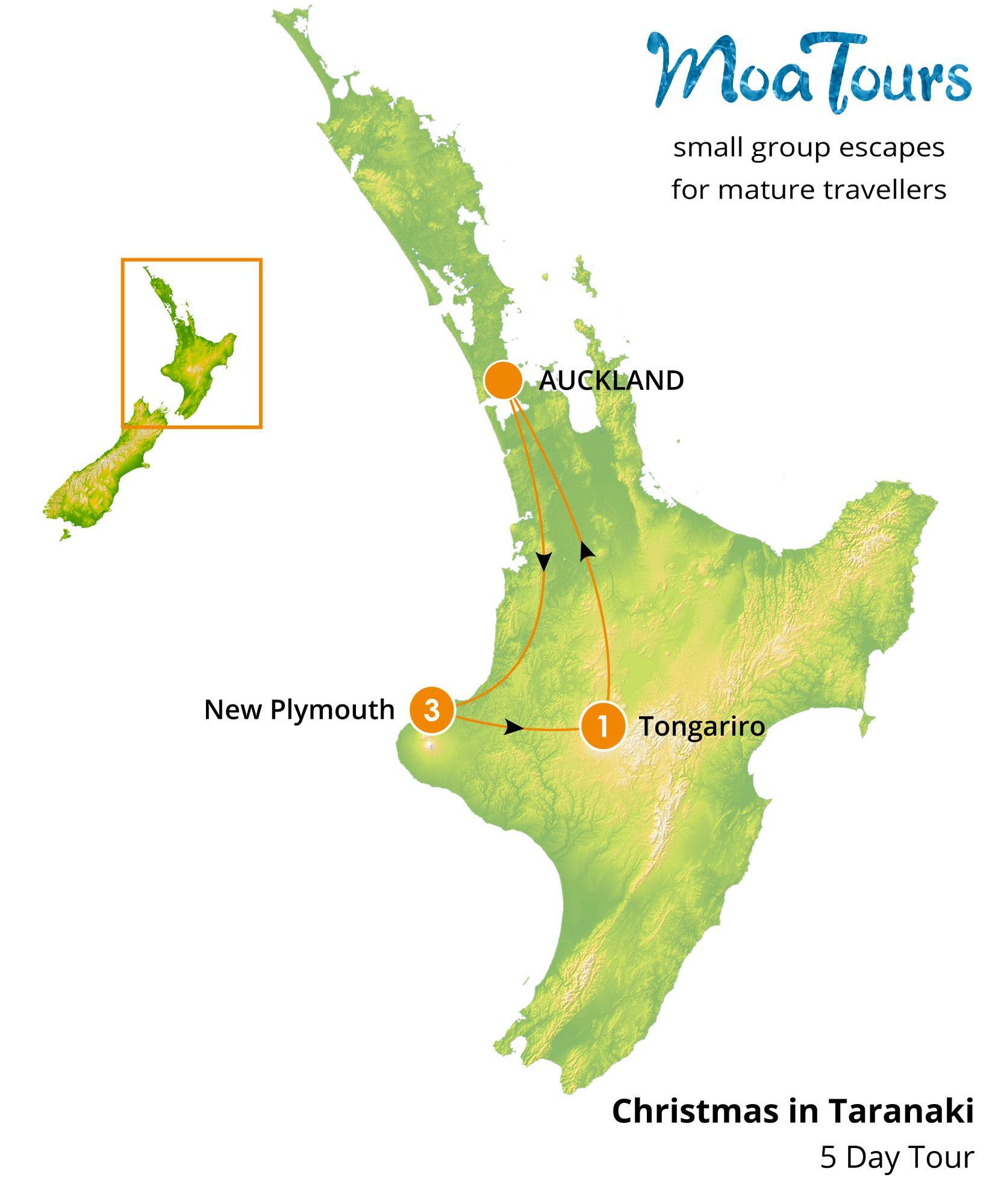 Christmas in Taranaki 5 day tour   MoaTours New Zealand