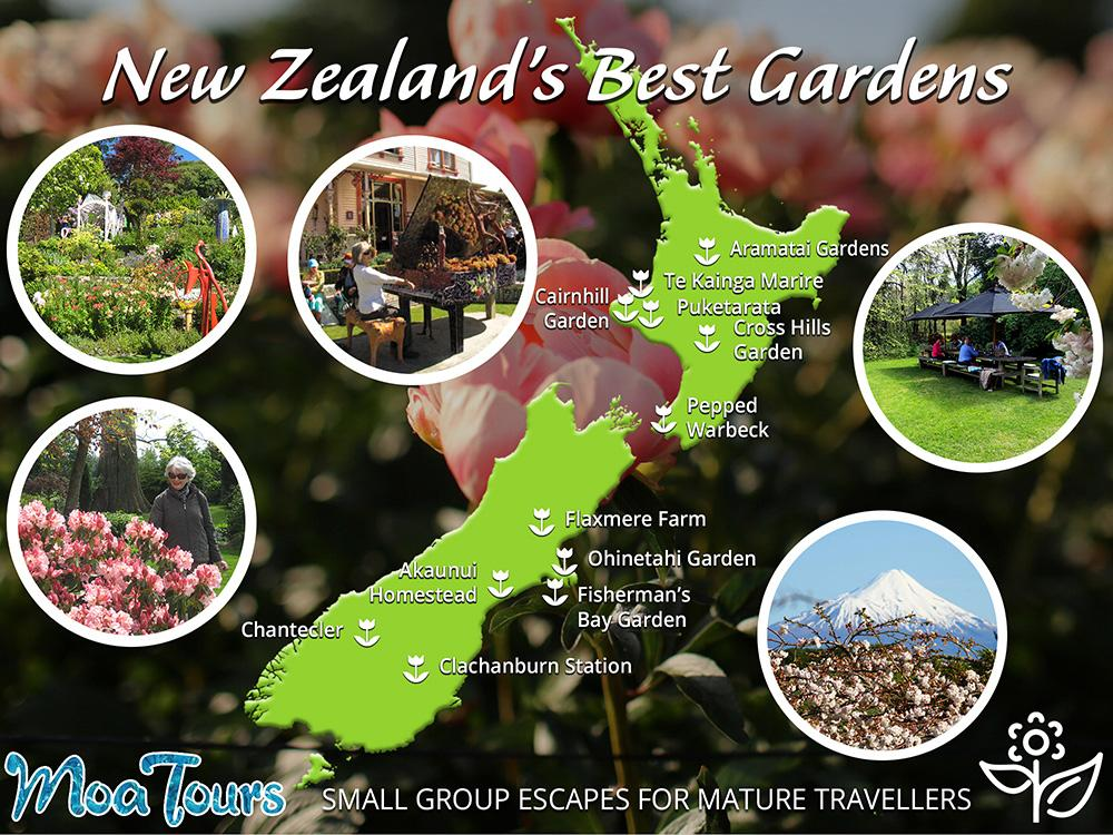 Map of New Zealand's best gardens