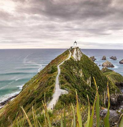 Ocean views from Nugget Point Lighthouse in Otago