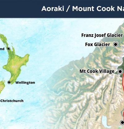 Location Map of Aoraki Mt Cook National Park