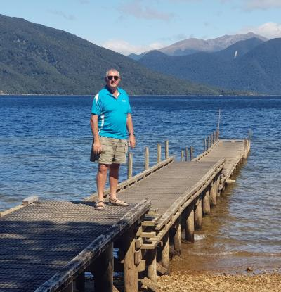 MoaTours Kiwi Guide Matt on the wharf at Lake Hauroko, Fiordland