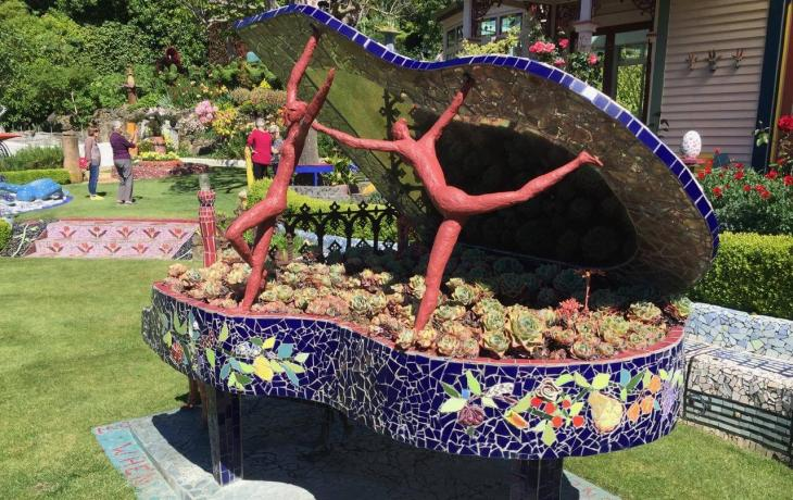 Piano Sculpture at Giant's House Private Garden in Akaroa