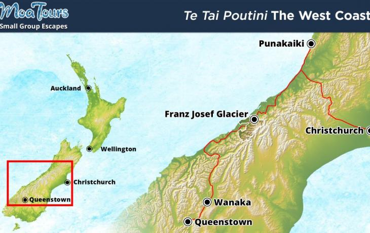 Travel map of the West Coast of the South Island