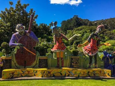 Colourful garden statues in the Giant's House, Banks Penninsula