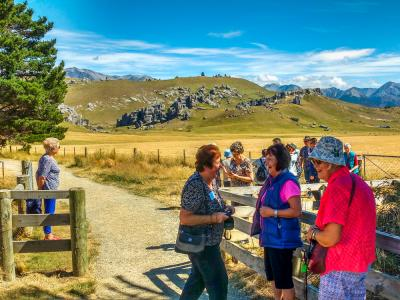 Visitors to Castle Hill rock formations Canterbury High Country