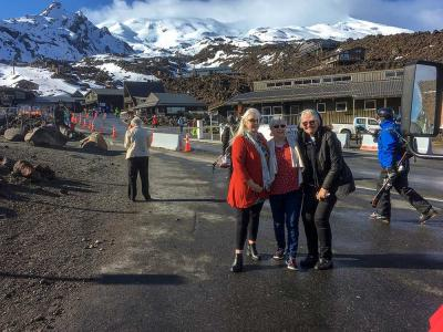MoaTours guests at the Top of the Bruce, Mt Ruapehu in the background