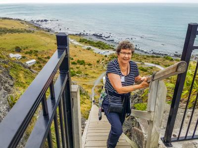 Climbing the stairs at Cape Palliser Lighthouse in Wairarapa