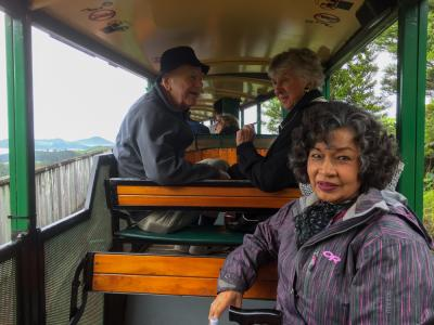 Guests enjoying a ride on Barry Brickells railway Coromandel
