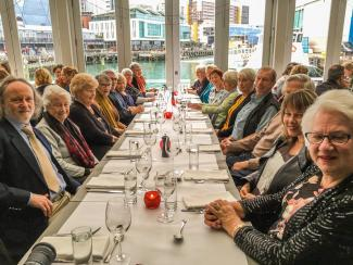 MoaTours group enjoying dinner at the Dockside restaurant in Wellington