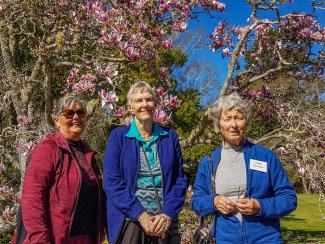 MoaTours guests enjoying spring sunshine in Gwavas Garden
