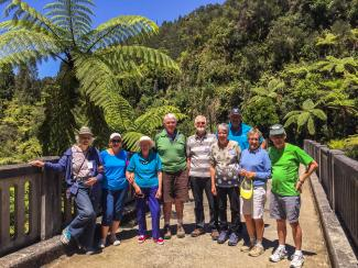 MoaTours guests at The Bridge to Nowhere on the Whanganui River