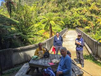 MoaTours guest Barbara and friends enjoying lunch at the Bridge to Nowhere